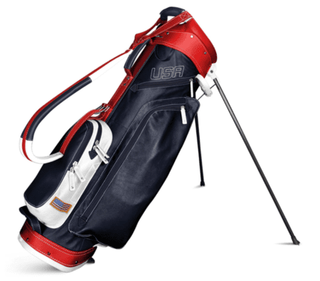 Navy White Red Sun Mountain Leather Golf Bag